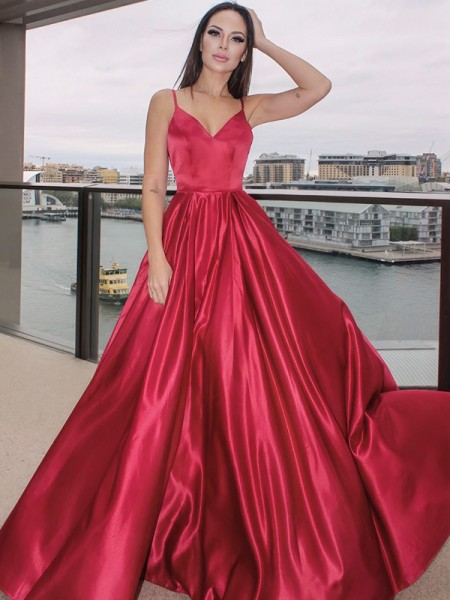A-Line/Princess Sleeveless Ruffles V-neck Satin Floor-Length Dresses
