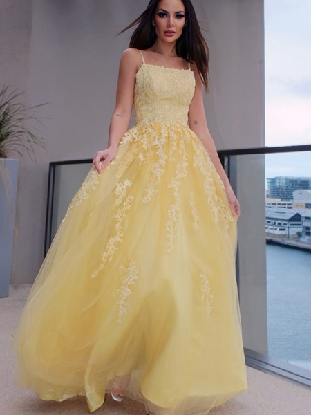 A-Line/Princess Spaghetti Straps Applique Sleeveless Tulle Floor-Length Dresses