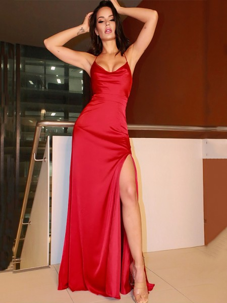 Sheath/Column Elastic Woven Satin Spaghetti Straps Floor-Length Ruched Sleeveless Dresses