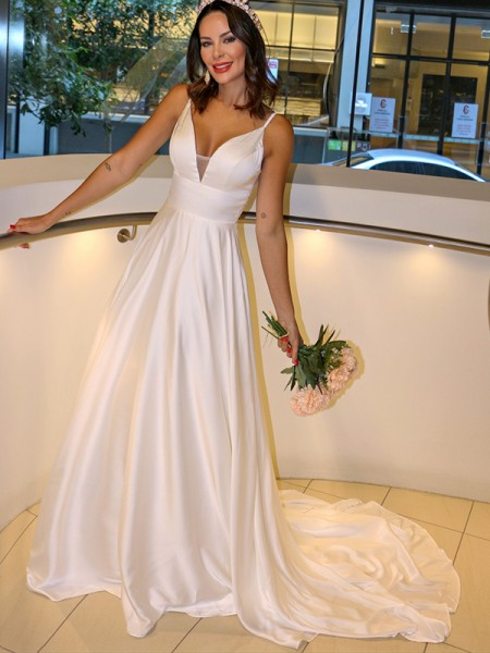 A-Line/Princess Satin Spaghetti Straps Ruffles Sleeveless Sweep/Brush Train Wedding Dresses