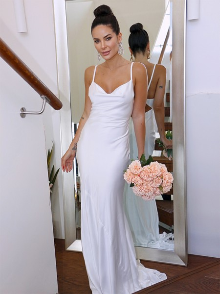 Sheath/Column Spaghetti Straps Silk like Satin Sleeveless Ruched Sweep/Brush Train Wedding Dresses