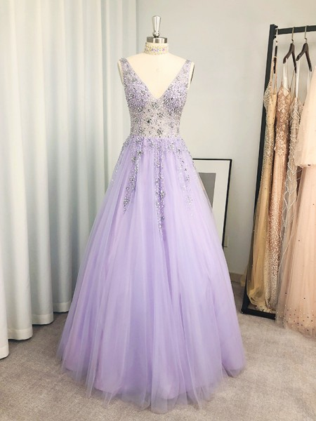 A-Line/Princess Tulle Beading V-neck Sleeveless Floor-Length Dresses
