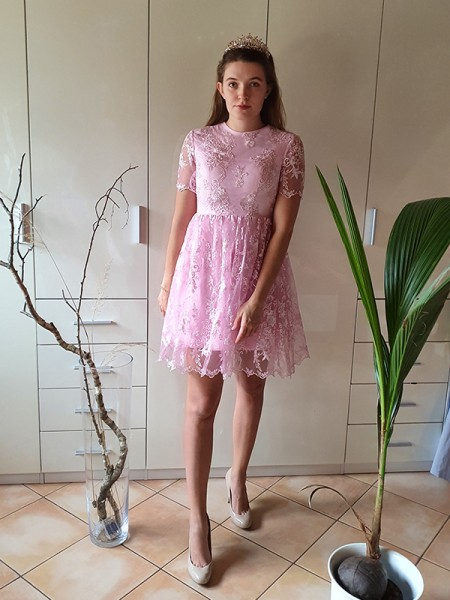 A-Line/Princess Short Sleeves Organza Sheer Neck Applique Short/Mini Homecoming Dresses