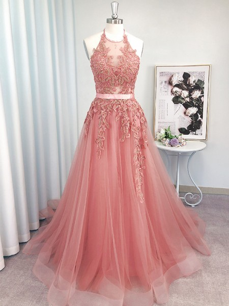 A-Line/Princess Sleeveless Tulle Halter Applique Sweep/Brush Train Dresses