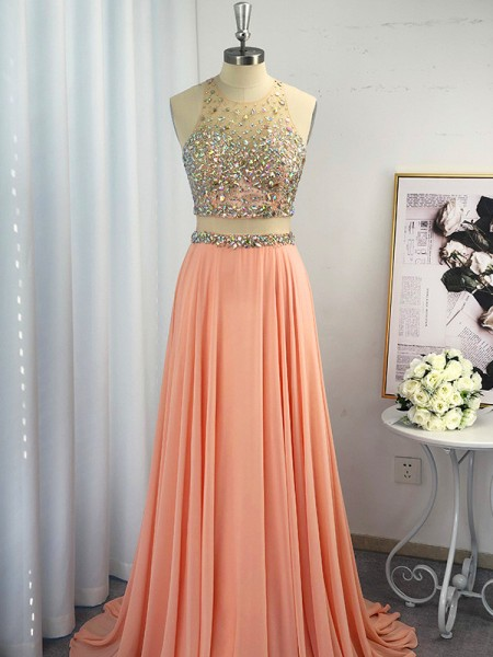 A-Line/Princess Scoop Chiffon Beading Sleeveless Sweep/Brush Train Dresses