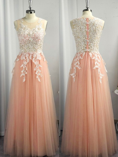 A-Line/Princess Scoop Tulle Applique Sleeveless Floor-Length Dresses