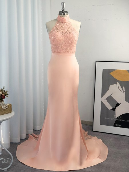 Trumpet/Mermaid Halter Sleeveless Satin Lace Sweep/Brush Train Dresses
