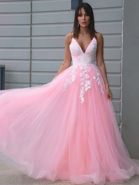 A-Line/Princess Tulle V-neck Applique Sleeveless Floor-Length Dresses