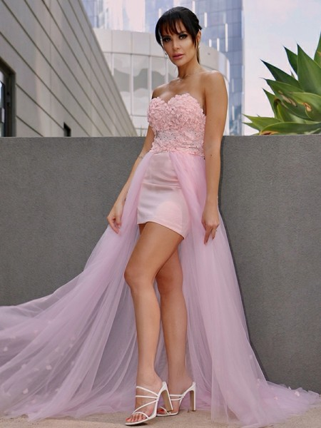 A-Line/Princess Hand-Made Flower Tulle Sleeveless Sweetheart Sweep/Brush Train Dresses