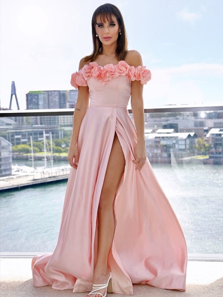 A-Line/Princess Satin Off-the-Shoulder Sleeveless Hand-Made Flower Sweep/Brush Train Dresses