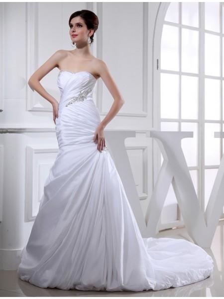 Pärlbrodering Trumpet/Sjöjungfru Långa Taft Brudklänningar