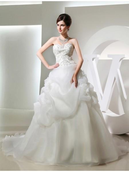 Balklänning Pärlbrodering Blomma Ärmlös Långa Organzapåse Brudklänningar