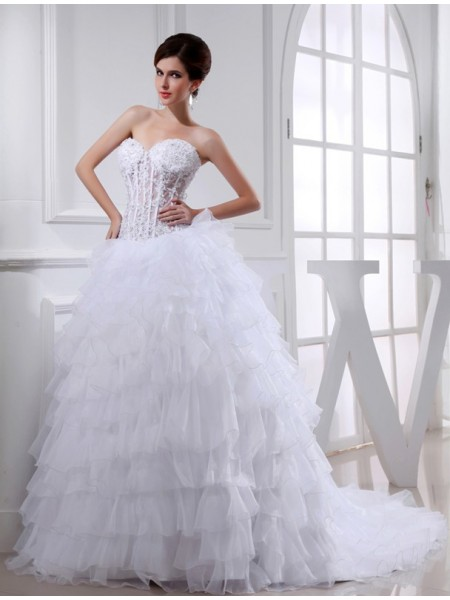Balklänning Pärlbrodering Hjärtformad Ärmlös Applikation Organzapåse Brudklänningar