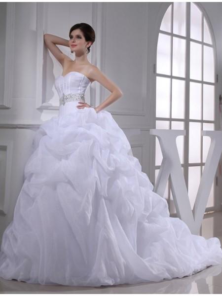 Balklänning Pärlbrodering Hjärtformad Ärmlös Långa Organzapåse Brudklänningar