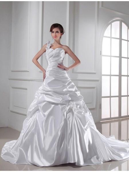 A-linjeformat One-shoulder Hjärtformad Ärmlös Långa Veck Vävd Satäng Brudklänningar