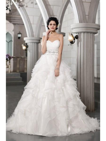 Balklänning Hjärtformad Ärmlös Pärlbrodering Långa Organzapåse Brudklänningar