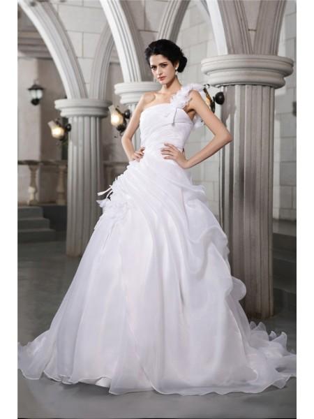 Balklänning One-Shoulder Ärmlös Veck Långa Organzapåse Brudklänningar