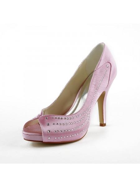 Women's Satäng Stiletto Heel Peep Toe Platform Pink Bröllop Skor Dekorera med Rhen Sten