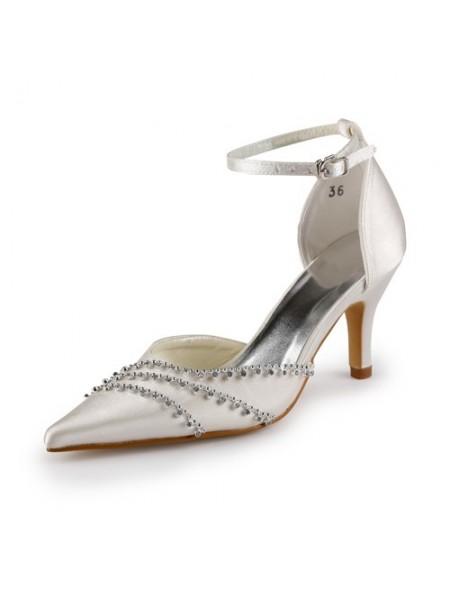 Women's Nice Satäng Stiletto Heel Closed Toe Champagne Bröllop Skor Dekorera med Buckle