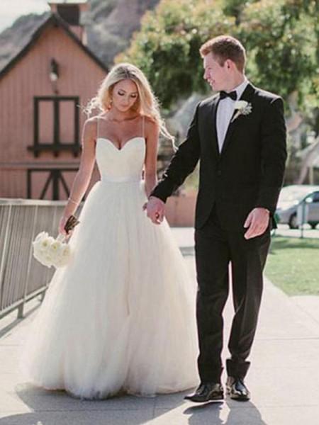 Stora Hjärtformad Sweep släp Ärmlös Tyll Bröllopsklänningar