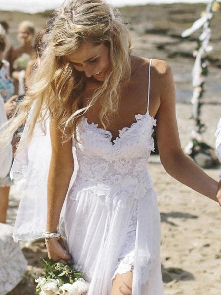 A-linjeformat V-ringning Ärmlös Applikation Court släp Chiffong Bröllopsklänningar