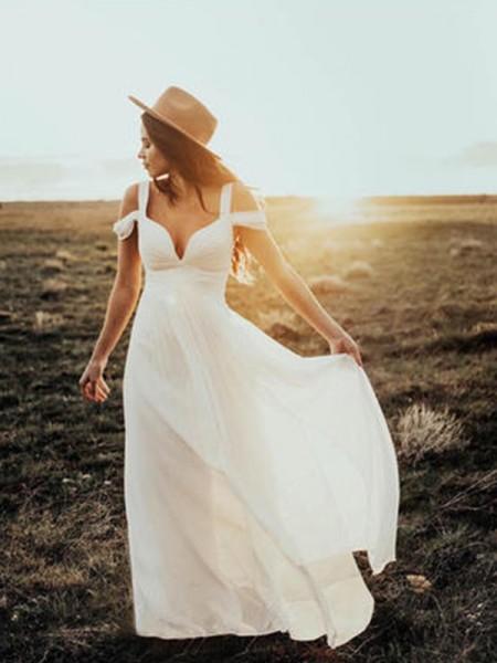 A-linjeformat Korta ärmar V-ringning Axelband Golvläng Rufsar Chiffong Bröllopsklänningar