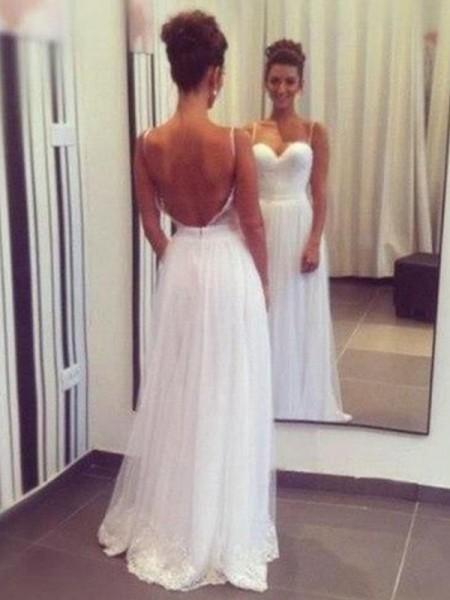 A-linjeformat Hjärtformad Golvläng Ärmlös Rufsar Tyll Bröllopsklänningar