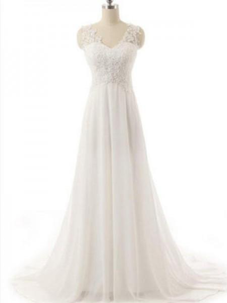 A-linjeformat V-ringning Ärmlös Sweep släp Spetsar Chiffong Bröllopsklänningar