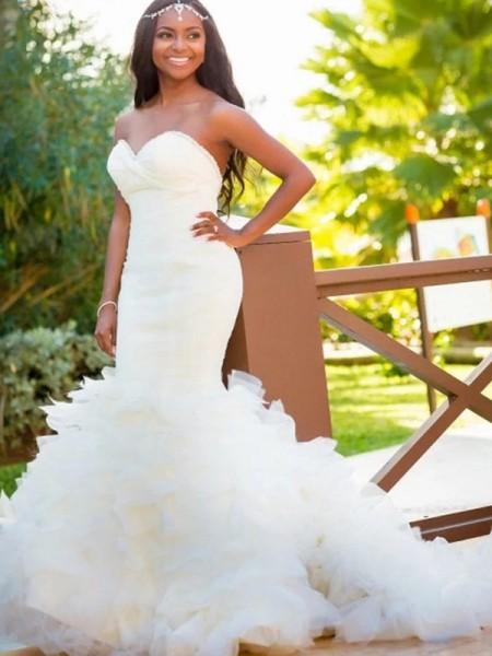 Trumpet/Sjöjungfru Ärmlös Hjärtformad Court släp Organzapåse Bröllopsklänningar