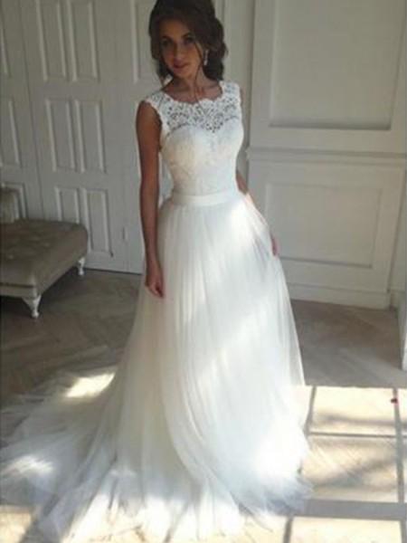 A-linjeformat Ärmlös Square urringning Court släp Tyll Bröllopsklänningar