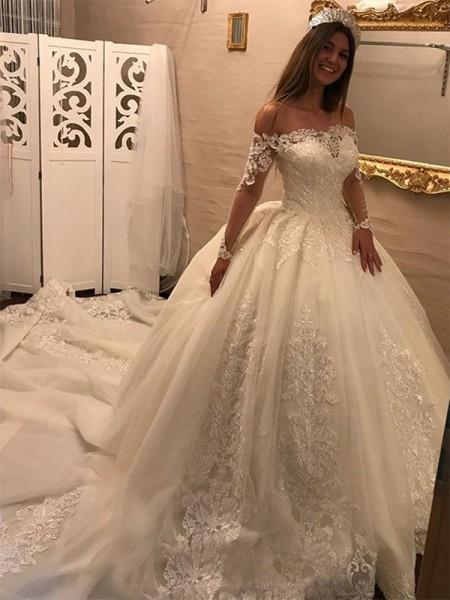 Stora Off-shoulder ringning Långa ärmar Domkyrkan tåg Applikation Tyll Bröllopsklänningar