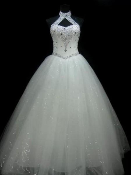 Stora Grimma Ärmlös Golvläng Pärlbrodering Paljetterad Tyll Bröllopsklänningar
