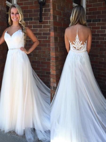 A-linjeformat Rund-urringning Ärmlös Applikation Court släp Tyll Bröllopsklänningar