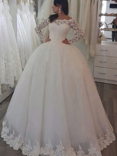 Stora Långa ärmar Off-shoulder ringning Sweep släp Applikation Spetsar Bröllopsklänningar