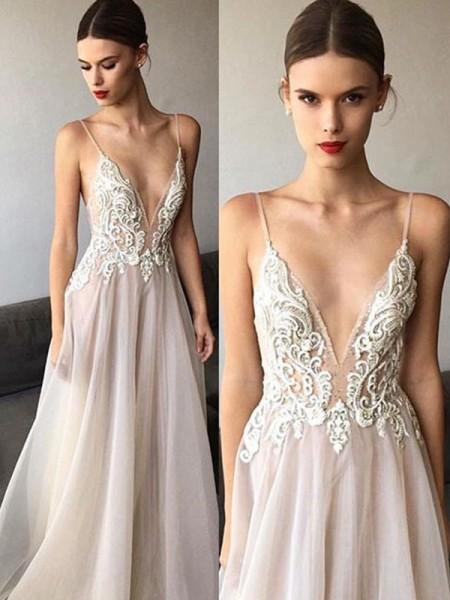 A-linjeformat Ärmlös V-ringning Sweep släp Smala axelband Spetsar Tyll Bröllopsklänningar