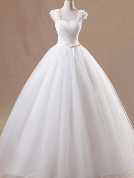 Stora Ärmlös Square urringning Golvläng Rufsar Tyll Bröllopsklänningar