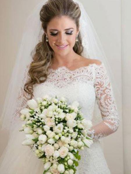 Trumpet/Sjöjungfru Långa ärmar Off-shoulder ringning Sweep släp Applikation Spetsar Tyll Bröllopsklänningar