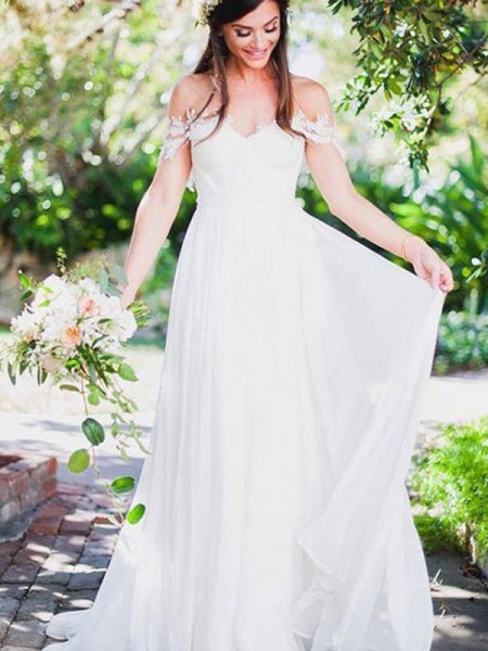 A-linjeformat Ärmlös Off-shoulder ringning Sweep släp Applikation Spetsar Chiffong Bröllopsklänningar