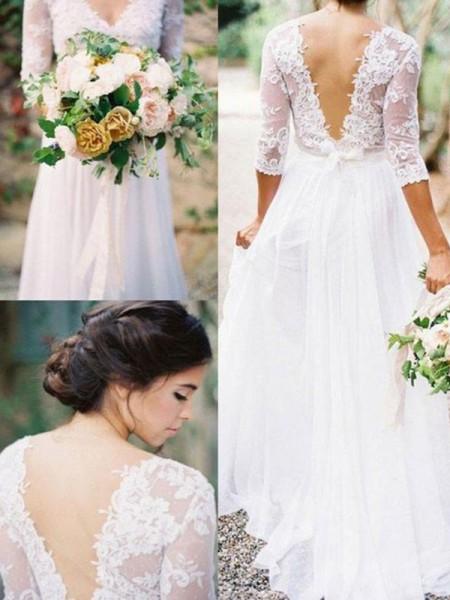 A-linjeformat 1/2 Ärmar V-ringning Golvläng Applikation Spetsar Chiffong Bröllopsklänningar