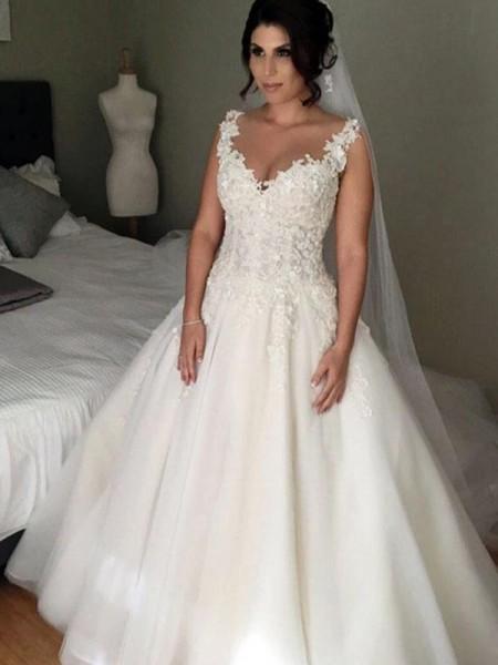 Stora Ärmlös V-ringning Court släp Applikation Spetsar Tyll Bröllopsklänningar