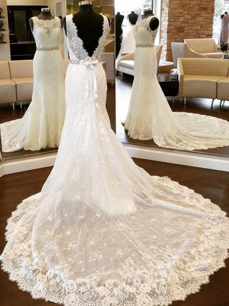 Slida/Kolumn Spetsar Rund-urringning Ärmlös Rosett Chapel släp Bröllopsklänningar