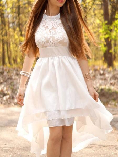 A-linjeformat Chiffong Volanger Grimma Asymmtrisk Ärmlös Bröllopsklänningar