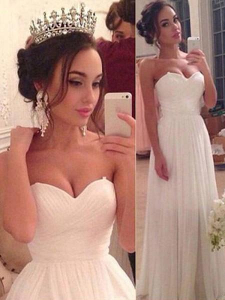 A-linjeformat Hjärtformad Ärmlös Chiffong Rufsar Golvläng Bröllopsklänningar