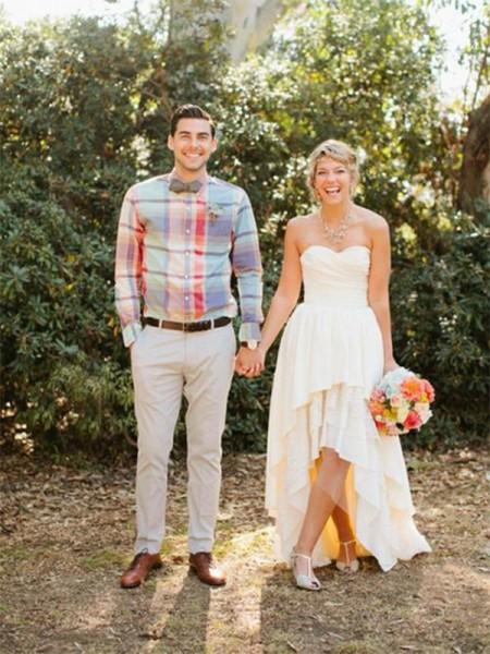 A-linjeformat Chiffong Rufsar Hjärtformad Ärmlös Asymmtrisk Bröllopsklänningar