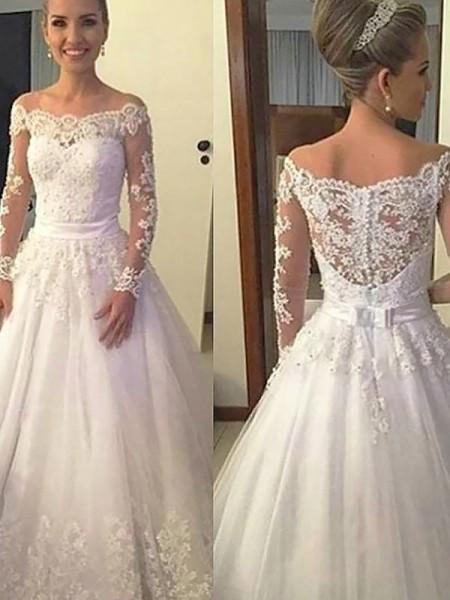 Stora Tyll Applikation Off-shoulder ringning Långa ärmar Court släp Bröllopsklänningar