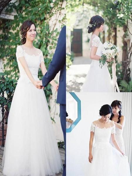 A-linjeformat Tyll Spetsar Off-shoulder ringning Korta ärmar Sweep släp Bröllopsklänningar