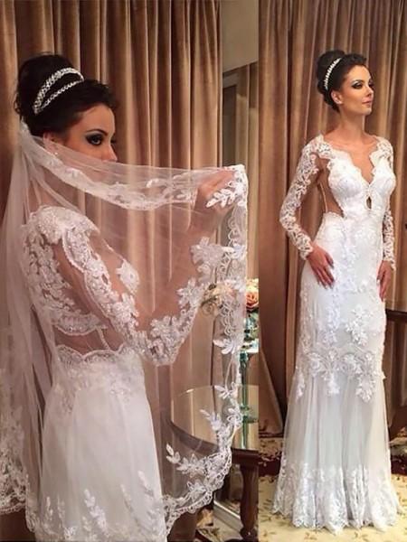 Slida/Kolumn V-ringning Tyll Applikation Långa ärmar Sweep släp Bröllopsklänningar