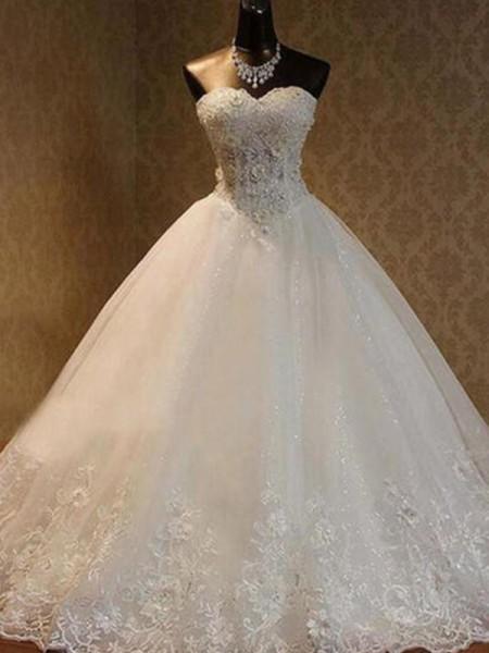Stora Tyll Pärlbrodering Hjärtformad Ärmlös Golvläng Bröllopsklänningar