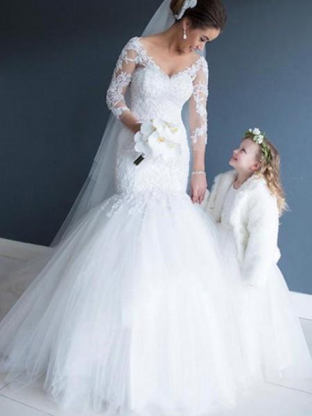 Trumpet/Sjöjungfru V-ringning Tyll Spetsar 3/4 Ärmar Court släp Bröllopsklänningar