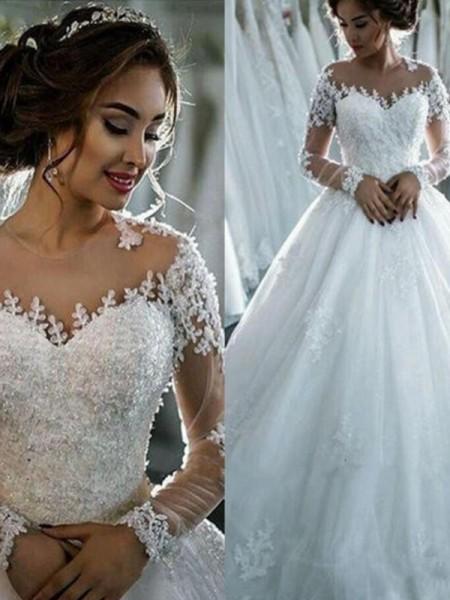 Stora Applikation Tyll Rund-urringning Långa ärmar Court släp Bröllopsklänningar